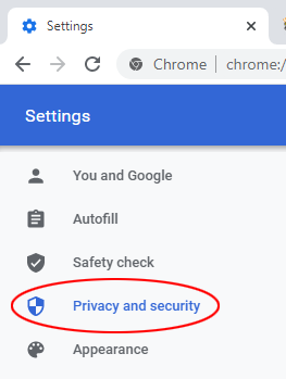 Step 2 - Select Privacy and security