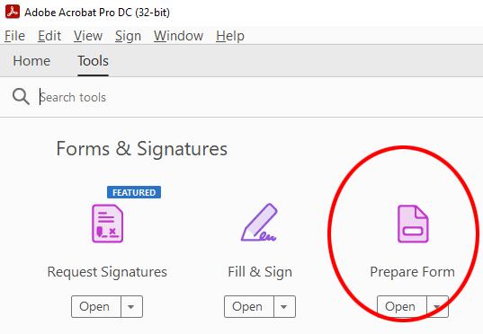 The prepare form button creates a fillable PDF form